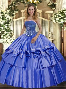 Luxury Blue Strapless Neckline Beading and Ruffled Layers Quince Ball Gowns Sleeveless Lace Up