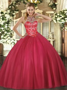 Lovely Coral Red Ball Gowns Beading Quinceanera Gown Lace Up Satin Sleeveless Floor Length