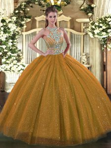 Halter Top Sleeveless Quinceanera Gowns Floor Length Beading Brown Tulle