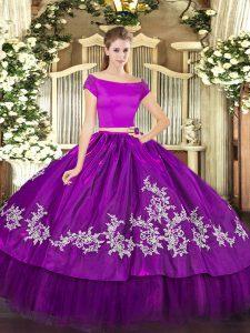Purple Zipper Vestidos de Quinceanera Embroidery Short Sleeves Floor Length