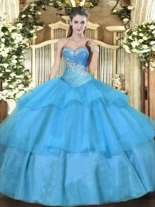 Cute Tulle Sleeveless Floor Length Quinceanera Dresses and Beading and Ruffled Layers