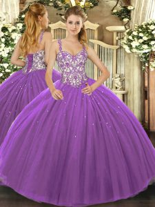 Purple Sleeveless Beading and Appliques Floor Length Sweet 16 Quinceanera Dress