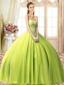 Yellow Green Ball Gowns Beading Quinceanera Gowns Lace Up Tulle Sleeveless Floor Length