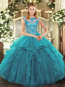 Teal Ball Gowns Ruffles Quinceanera Gowns Lace Up Organza Cap Sleeves
