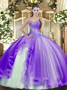 Beautiful Lavender Sleeveless Beading and Ruffles Floor Length Sweet 16 Quinceanera Dress
