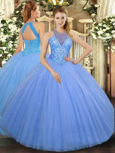 Sleeveless Floor Length Beading Lace Up Vestidos de Quinceanera with Light Blue