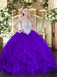 Purple Zipper Quince Ball Gowns Beading and Ruffles Sleeveless Floor Length