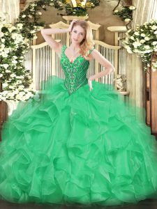 Green Ball Gowns V-neck Sleeveless Organza Floor Length Lace Up Beading and Ruffles Quinceanera Gown