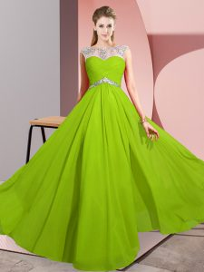 Fashionable Floor Length Empire Sleeveless Prom Gown Clasp Handle