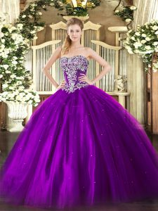 Purple Vestidos de Quinceanera Military Ball and Sweet 16 and Quinceanera with Beading Strapless Sleeveless Lace Up