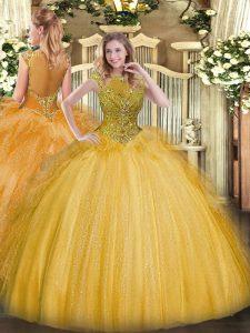 Gold Sleeveless Floor Length Beading and Ruffles Zipper Vestidos de Quinceanera