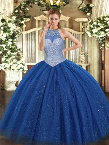 Royal Blue Lace Up Halter Top Beading Vestidos de Quinceanera Tulle Sleeveless
