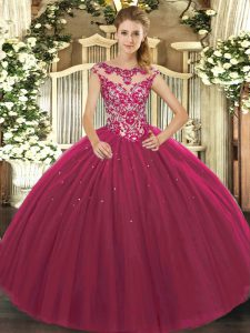 Spectacular Floor Length Fuchsia Quinceanera Dresses Scoop Cap Sleeves Lace Up