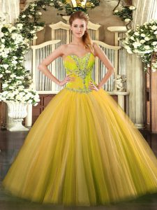 Ball Gowns Quinceanera Dress Gold Sweetheart Tulle Sleeveless Floor Length Lace Up