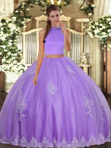 Traditional Lavender Backless Halter Top Beading and Appliques 15 Quinceanera Dress Tulle Sleeveless