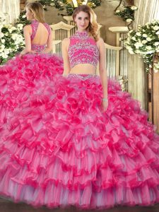 Clearance Sleeveless Floor Length Beading and Ruffled Layers Backless Quinceanera Dresses with Coral Red