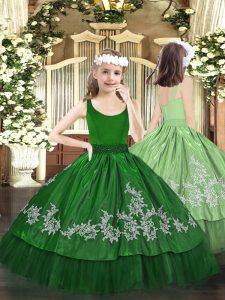 Dark Green Taffeta Zipper Scoop Sleeveless Floor Length Pageant Dress for Teens Beading and Appliques