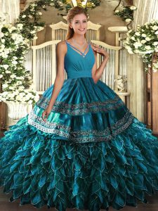 Romantic Blue Organza Side Zipper V-neck Sleeveless Floor Length Sweet 16 Quinceanera Dress Beading and Appliques and Ru