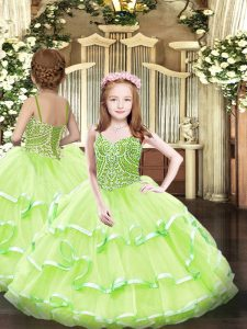 Yellow Green Organza Lace Up Straps Sleeveless Floor Length Pageant Dress Wholesale Beading and Ruffled Layers