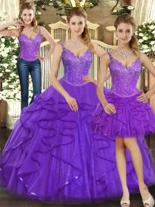 Sexy Straps Sleeveless Lace Up Quinceanera Dress Purple Organza