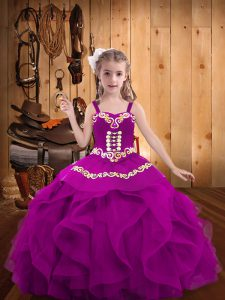 Fuchsia Organza Lace Up Kids Formal Wear Sleeveless Floor Length Embroidery and Ruffles