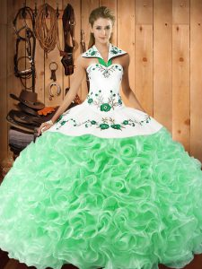 Flirting Apple Green Sleeveless Floor Length Embroidery Lace Up Quince Ball Gowns