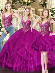 Fuchsia Lace Up Quinceanera Gown Beading and Ruffles Sleeveless Floor Length