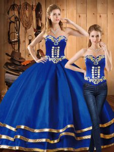 Wonderful Satin and Tulle Sleeveless Floor Length Quinceanera Dresses and Embroidery