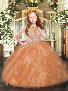Scoop Sleeveless Tulle Girls Pageant Dresses Beading and Ruffles Zipper