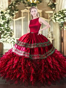 Glittering Sleeveless Floor Length Ruffled Layers Clasp Handle Sweet 16 Dress with Wine Red