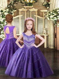 Floor Length Lavender Little Girl Pageant Gowns Tulle Sleeveless Beading