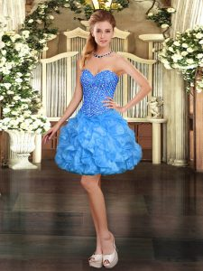 Ball Gowns Evening Dress Baby Blue Sweetheart Organza Sleeveless Mini Length Lace Up