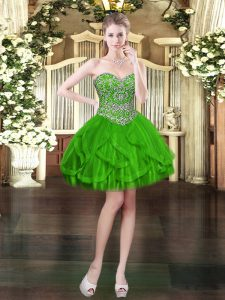 Sweetheart Sleeveless Lace Up Prom Dress Green Tulle