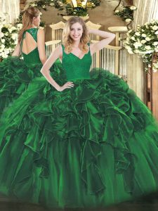 Best Dark Green Ball Gowns Organza V-neck Sleeveless Beading and Lace and Ruffles Floor Length Backless Ball Gown Prom D