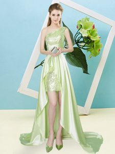 Sumptuous High Low Yellow Green Dress for Prom Elastic Woven Satin and Sequined Sleeveless Sequins