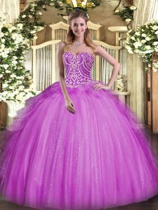 Delicate Fuchsia Ball Gowns Beading and Ruffles Quinceanera Dresses Lace Up Organza Sleeveless Floor Length