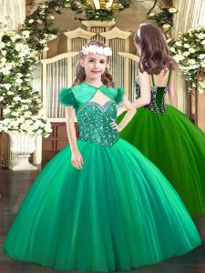 Turquoise Lace Up Straps Beading Kids Formal Wear Tulle Sleeveless