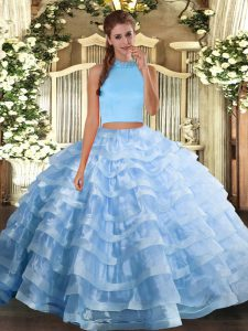 Sleeveless Backless Floor Length Beading and Ruffled Layers 15 Quinceanera Dress