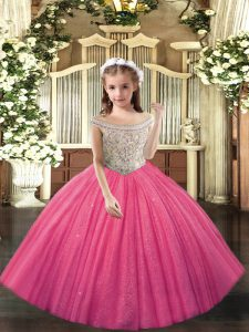 Hot Pink Ball Gowns Tulle Off The Shoulder Sleeveless Beading Floor Length Lace Up Child Pageant Dress