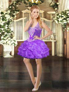 Sexy Eggplant Purple Sleeveless Beading and Ruffles Mini Length Prom Dress