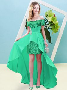 New Style Short Sleeves Elastic Woven Satin and Sequined High Low Lace Up Homecoming Dress in Turquoise with Beading