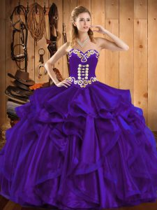 Embroidery and Ruffles Quinceanera Dress Purple Lace Up Sleeveless Floor Length