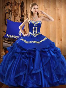 Fashion Royal Blue Sweetheart Lace Up Embroidery and Ruffles Sweet 16 Dresses Sleeveless