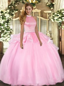 Comfortable Sleeveless Backless Floor Length Beading and Ruffles Ball Gown Prom Dress