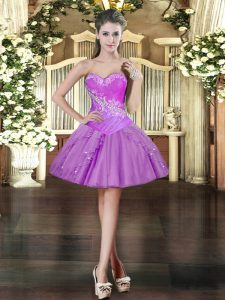 Traditional Sleeveless Organza Mini Length Lace Up Prom Party Dress in Lavender with Beading and Ruffles