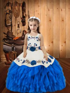 Straps Sleeveless Organza High School Pageant Dress Beading and Ruffles Lace Up