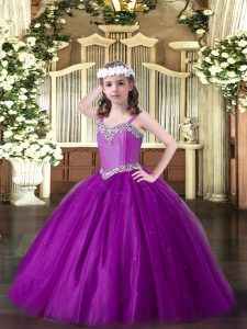 Amazing Eggplant Purple Tulle Lace Up Pageant Dresses Sleeveless Floor Length Beading