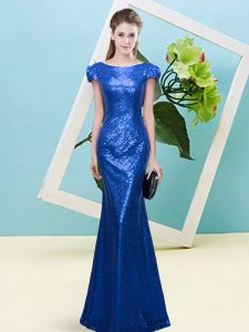 Clearance Royal Blue Scoop Zipper Sequins Prom Party Dress Cap Sleeves