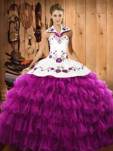 Custom Design Floor Length Fuchsia Ball Gown Prom Dress Halter Top Sleeveless Lace Up
