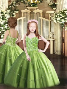 Olive Green Child Pageant Dress Party and Quinceanera with Beading Straps Sleeveless Lace Up
